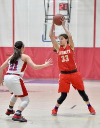 Carolann Cardinale of Everett controls the ball during their game against Somerville at Somerville High School on Tuesday, Feb. 13, 2018.