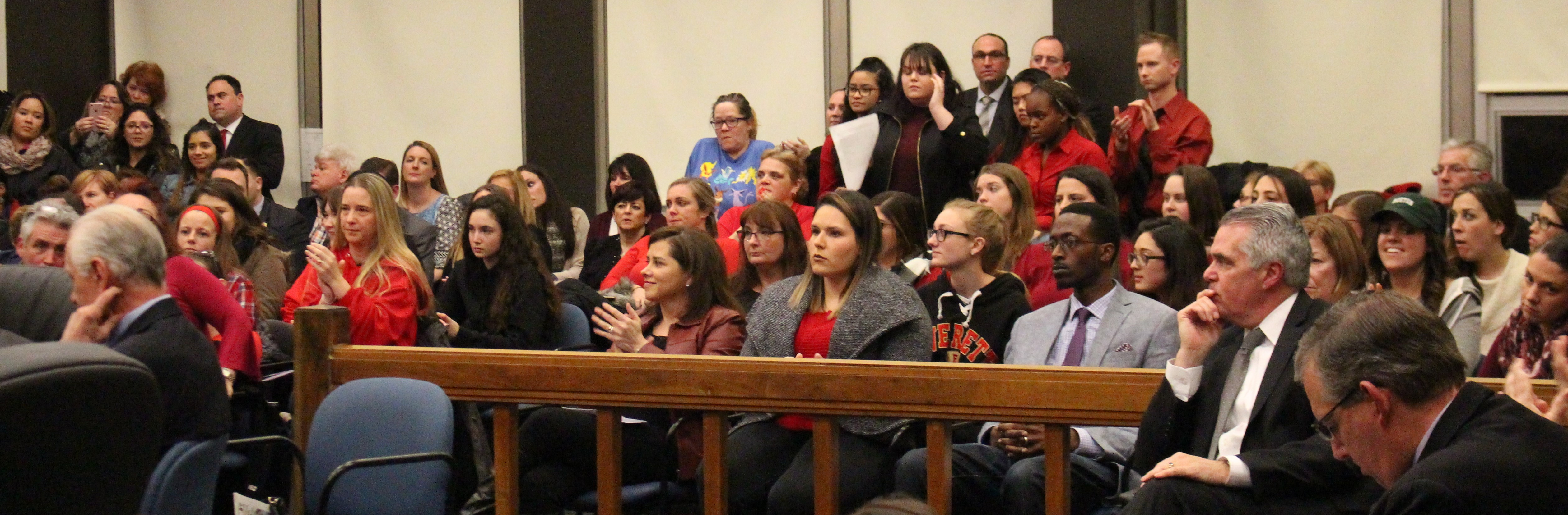 Students, teachers, and parents packed the council chambers to capacity Monday night.