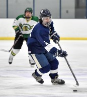 Danny Mack of Lynnfield moves the puck towards the net during their game against Pentucket-Georgetown at the McVann-O'Keefe Rink in Peabody on Tuesday, Feb. 20, 2018.