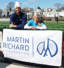 Event organizers, Chad Volbert and Ariana Coniglio. Coniglio is a former RHS Patriot track runner from the Class of 2006. The goal for the 26 lap (6.5 miles) walk is to raise 15 thousand dollars for the Martin Richard Foundation. Richard was one of the victims for the Boston Marathon Bombing
