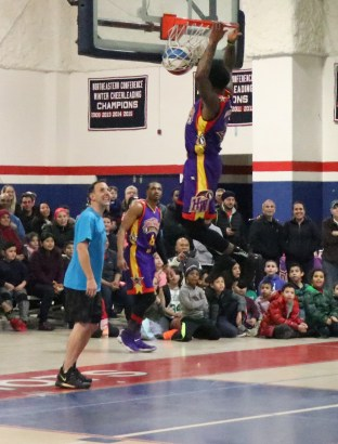 Mayor Brian Arrigo had a tough time of defense, as Space Jam showed how he got his name. Lots of hang time at RHS gym last Tuesday.
