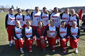 MEET THE 2018 SHS SACHEMS GIRLS SOFTBALL TEAM: Shown, from left to right, are (top row) Rebecca Presioso, Brittney Sudanowicz, Caitlin Wood, Madison Niles, Taylor Bogdanski, Sadie Dicenso, Cat Schena, Gaby Surette, (bottom row) Emma Howard, Ashley Shaw, DJ Munafo, Nystasia Rowe, Alexa Ferraro, and Kirby Dalton.