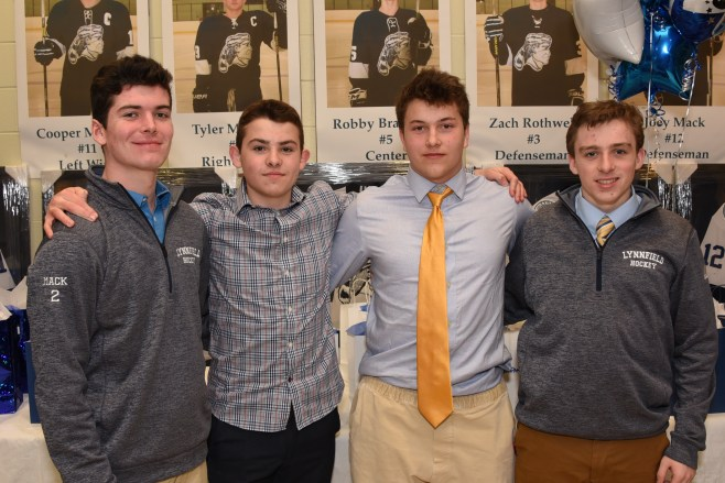 2018-2019 VARSITY CAPTAINS: Daniel Mack, George DeRoche, Sean Robbins, and Christopher Flannery
