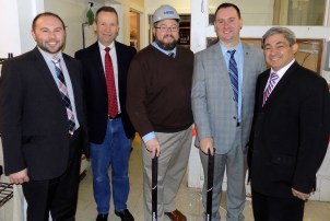 Shown, from left to right, are School Committee Member Andrew Arnotis, Ward 2 Councillor Peter McGinn, Mayor Edward Bettencourt, Citizens Inn Executive Director Corey Jackson and State Rep. Theodore Speliotis during the April 6 groundbreaking event to renovate the kitchen area at Citizens Inn's Haven from Hunger program.