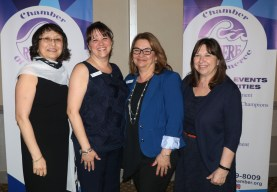 Friends and colleagues from the East Boston Savings Bank were on hand to support President Karen A Gallo as she took over as president of the Revere Chamber of Commerce. From left; Tatiana Bougdaeva, President Karen Gallo, Kim Corless and Maryann Russo.