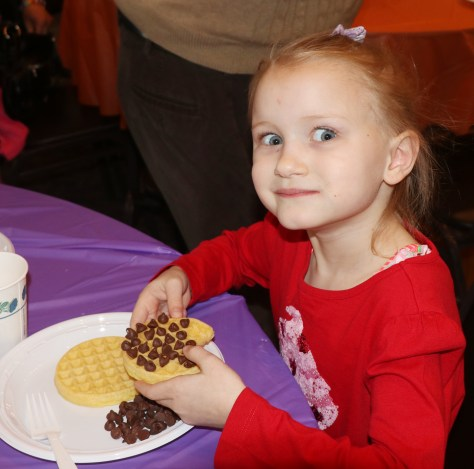 A chocolate chip waffle was the choice of Isabella Bolton.