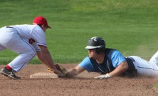 Peabody's Eric DeMayo goes head-first into second base to leg out a fourth-inning double in Monday's 7-0 win at Marblehead.