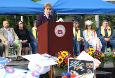 School Committee member Carol Tye addressed the graduating class of 2018.