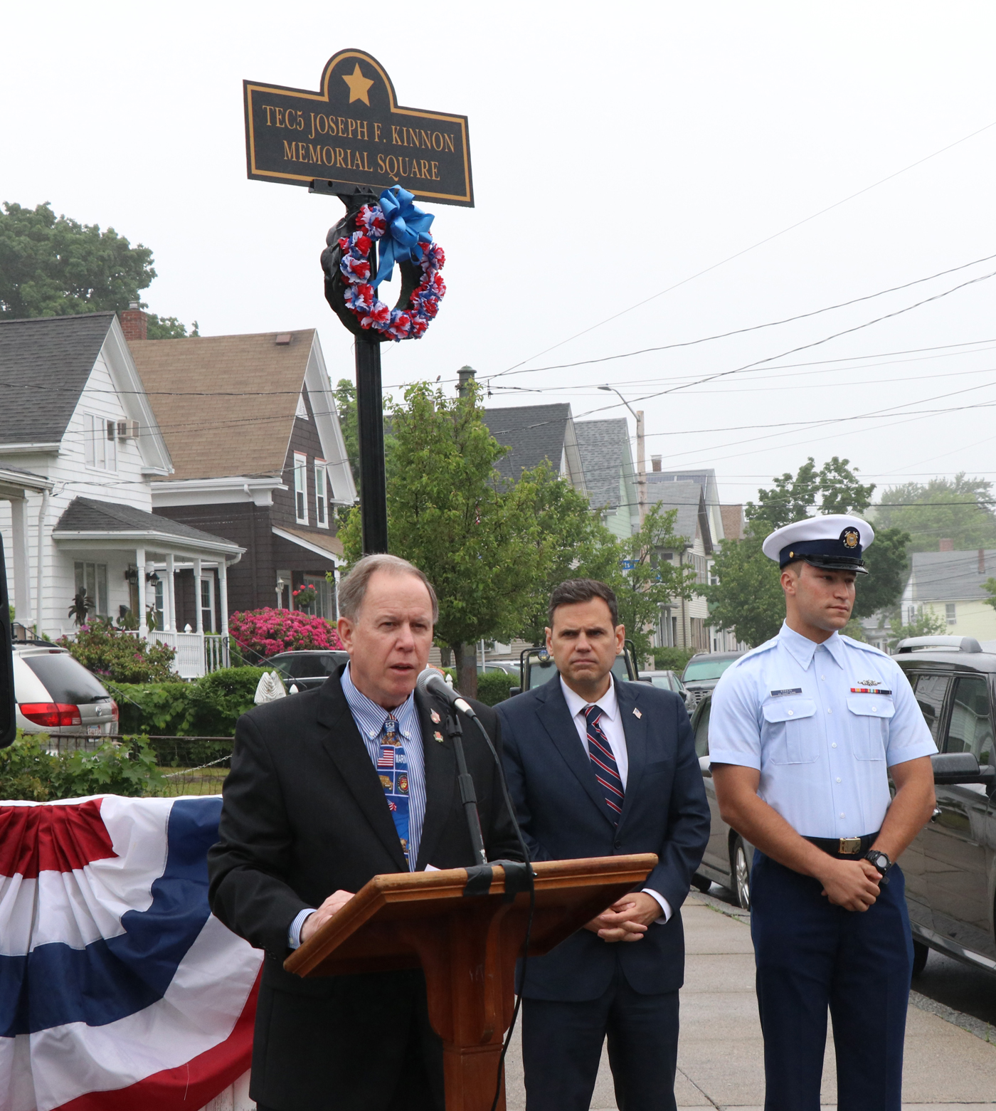 Malden's Director of Veteran's Services Kevin Jarvis officially opens the ceremony last Monday morning with Mayor Gary Christenson and nephew of Joseph Kinnon, Steven Kinnon of the United States Coast Guard.