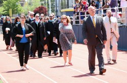 Principal Chris Mastrangelo led the faculty into the stadium last Sunday.