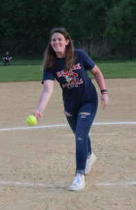 RHS former player Lauren Hayes threw out the first pitch.