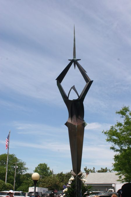 """WATCHING OVER THE PARK: """"Artorius,"""" the metal sculpture by John Raimondi has been a long-time fixture at Officer Harold L. Vitale Memorial Park in Saugus."""