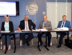 Shown, from right to left, are Bree Sullivan, Bruno Campea, Michael Rizzo and Norman Brown of Bayside Engineering during their June 12 meeting with residents to discuss the proposed Summer Street Improvement Project.