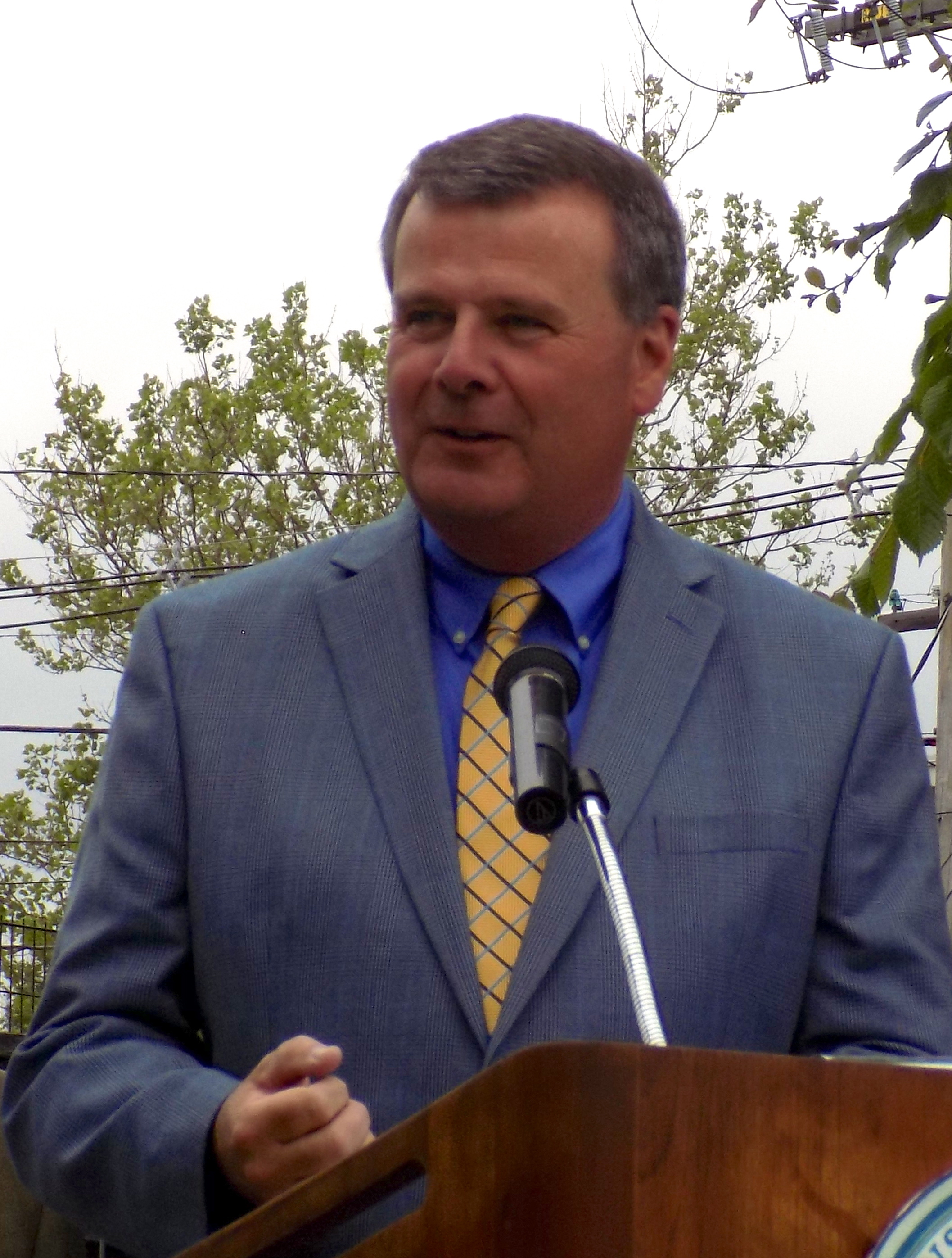 State Rep. Thomas Walsh was on hand to help present two state grants to the city totaling $467,616 for Municipal Vulnerability Preparedness at East End Peabody Veterans Memorial Park on June 1.