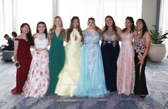 Revere High Seniors in their prom gowns.