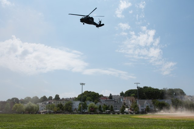 Blackhawk helicopter landed in Glendale Park for the Everett Junior Police Academy on Wednesday afternoon