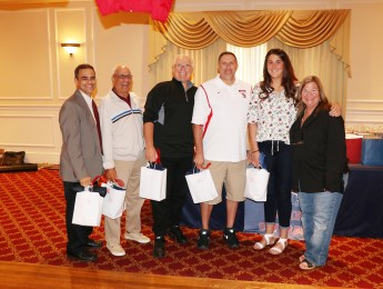 President Denise Anderson (right) with the RHS Softball Coaching Staff, Joe Ciccarello, Phil Golditch, Butch Bruno, Keith Correia, Nicole Wilson.