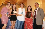 Head Coach Joe Ciccarello with Danielle Dion-Most Improved Player Award, Melaina Polan –Coaches Award, Olivia McManus-MVP Award, and Victoria Correia-The Patriot Award.