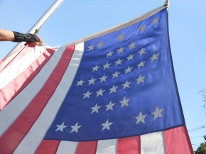 OLD (CIVIL WAR) GLORY: A 33-star American flag – a replica of the one that flew over Ft. Sumter in Charleston, S.C., on April 12, 1861, at the site of the first battle of the American Civil War – is one of the early features of the Civil War restoration project that volunteer and Vietnam War veteran Gordon Shepard began at Riverside Cemetery several years ago.