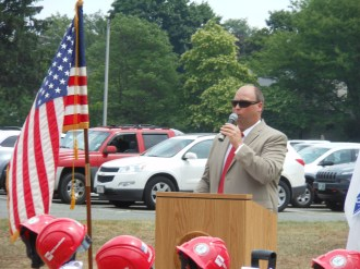 LEADING THE CHARGE: Saugus Town Manager Scott Crabtree was the master of ceremonies for Tuesday's groundbreaking ceremony at the site of the future Saugus Middle-High School.