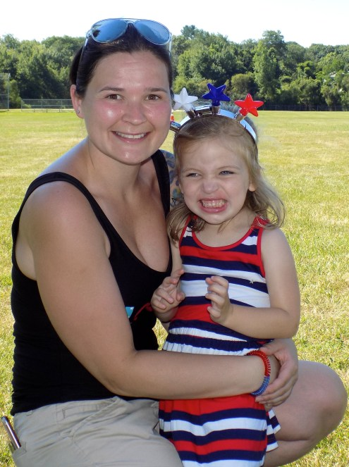 Resident Diana Linehan with three-year-old Chloe Franko during the Fourth of July festivities at Raddin Park.