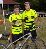 John Barrows of Danvers (left) and Paschal Corrigan of Gloucester follow the 14th Annual Reid's Ride to Fight Adolescent and Young Adult Cancer on July 15.