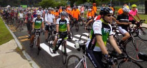 More than 300 riders prepare to leave Lynnfield High School during the 14th Annual Reid's Ride to Fight Adolescent and Young Adult Cancer on July 15.