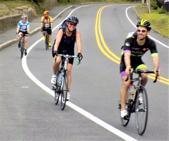 Participants of the 14th Annual Reid's Ride to Fight Adolescent and Young Adult Cancer ride along Route 127 North in Beverly on July 15.