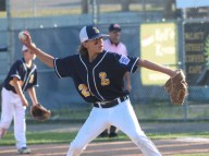 Lynnfield reliever Jarret Scoppettoulo prepares to unleash a pitch in last Thursday's District 16 championship loss to Peabody West.