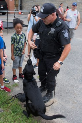 With the guidance of Officer DiNuccio, K9 Mary demonstrated how to sniff out explosive devices