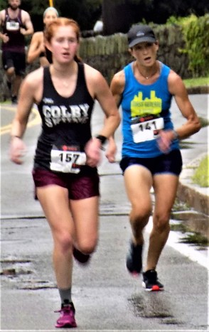 Talia Seltzer, 20, of Sudbury (left), and Jeanne MacDonald, 47, of Melrose, complete the final leg of the Fourth Annual Mary O'Donnell 5K on Aug. 12 at Pine Banks Park in Melrose.