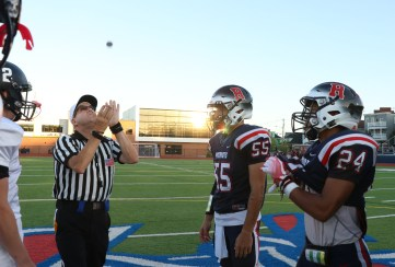 Toss of the coin with Pats Captains Frank Simms and Darius McNeil.