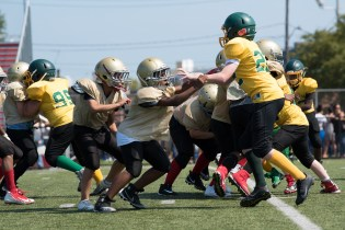 Everett played against West Lynn on Sunday, many kids getting their first taste of football.