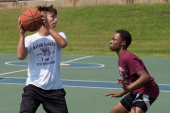 Adam Marshall and Dickenson Azor competed at Mayor Carlo DeMaria's 3-on-3 basketball tournament on Saturday.