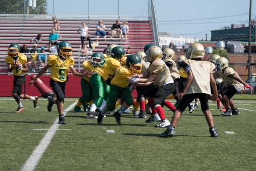 A Pop Warner scrimmage took place at Everett Memorial Stadium throughout the day on Sunday.