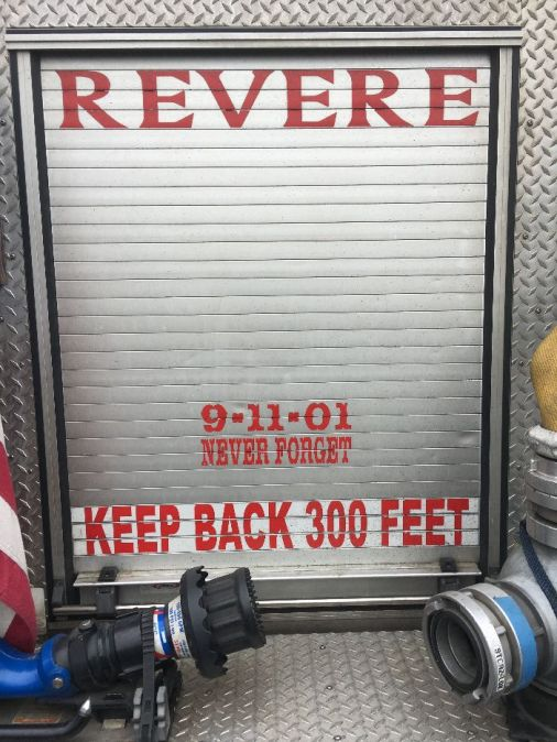 The back of the Revere fire engine displays 9-11-01 Never Forget.