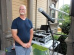 DJ FOR THE DAY: Saugus resident John Claffey of Spin'n Tunes Disc Jockey Service presided over the entertainment for this year's Founders Day from his sound system set up on the top of the steps at Saugus Town Hall.