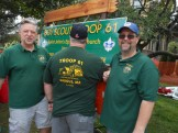 "A SHIRT TO CELEBRATE SAUGUS: Adult leaders Glen Woodworth, Tom Stewart and Kevin Wildman of Saugus Boy Scout Troop 61 show off the sporty green t-shirts that promote Saugus as ""The Birthplace of Steel."" The troop, established in 1928, is celebrating its 90th year this year."