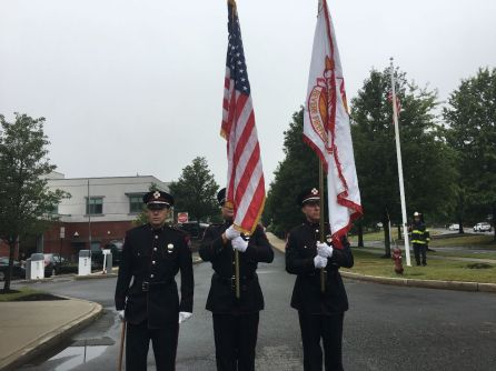 The Honor Guard pays tribute during Tuesday's 9/11 remembrance ceremony at the Fire Station.