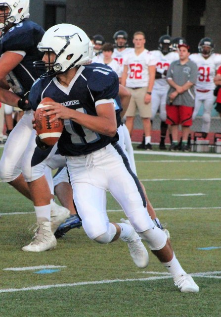 Quarterback Colby Therrien, shown here in action last season, returns to help lead the Peabody offense in 2018. (Advocate photo by Greg Phipps)