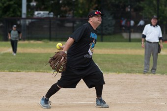 Vinny Doucette pitched during the Strike Out Cancer match on Saturday