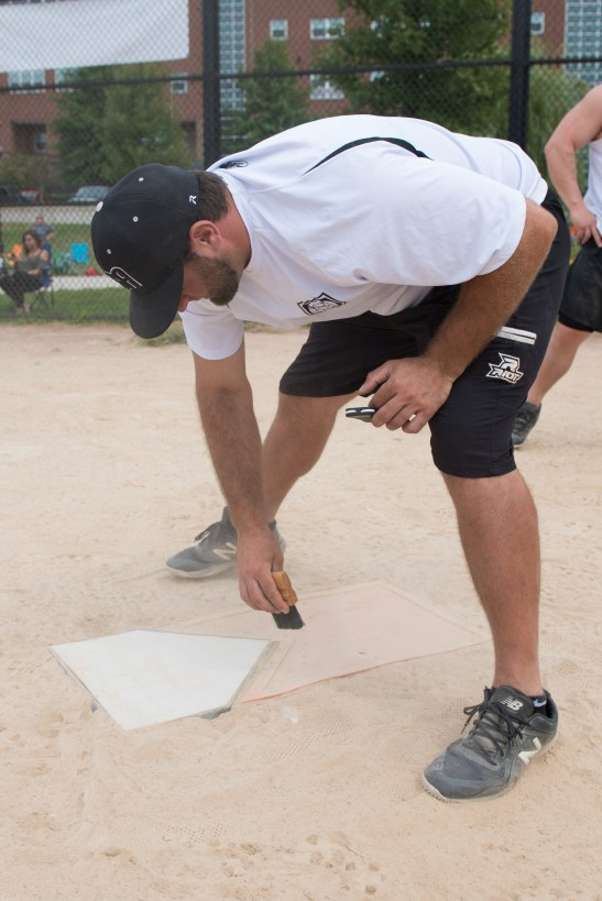 Mike Gallo volunteered as umpire throughout the day on Saturday