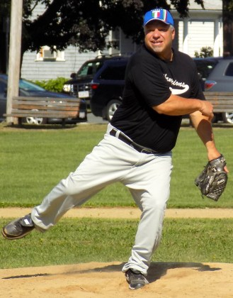 Phil Mitchell, a member of the North Shore Baseball League Hall of Fame, pitching for the North Shore Legends during the 62nd Peabody/Lynnfield Charity Baseball Game on Sept. 3 at Emerson Park in Peabody. (Advocate Photos by Christopher Roberson)