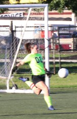Alana Aldred clears the ball from the Sachem net