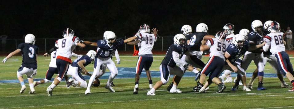 21 seconds to go, 2 points needed by the Tanners and the Revere High Patriots came up big again, as they have all night long on both sides of the ball. The Patriots went to 2-2 for the season with this spectacular win in Peabody.