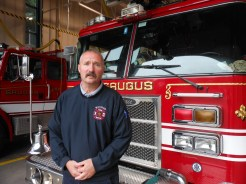 OPEN HOUSE AT THE SAUGUS FIRE DEPARTMENT: Saugus Fire Captain James Hughes will be one of several fire officials who will be on hand to answer fire safety questions next Saturday, Oct. 13, from 10 a.m. to 2 p.m. at the Central Fire Station (27 Hamilton St.). The event is free and is aimed at children as well as adults as the Fire Department observes Fire Prevention Week. Papa Gino's, which is sponsoring the annual Open House for the 24th straight year, will provide free pizza and children's fire safety coloring sheets. (Saugus Advocate Photo by Mark E. Vogler)