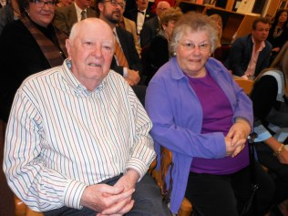 """William B. Stewart and his wife, Pauline, watch the presentation of this year's """"Readers Make Good Leaders."""""""