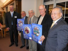 """LEGISLATIVE COMMENDATIONS: State Rep. Donald Wong, (R-Saugus), right, attended last Saturday night's gala to recognize each of the """"Leaders Make Good Readers"""" honorees with a commendation signed by him and Massachusetts House Speaker Robert A. DeLeo. Left to right are Edward Jeffrey, chairman of the board of the Foundation for the SPL, and honorees Peter A. Rossetti, Jr., Harry Mazman and Gordon E. Shepard."""