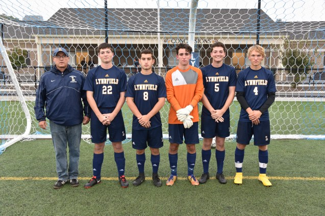 CAPTAINS: Head Coach Brent Munroe, David Gentile, Nathan Bass, Jack Campbell, Michael Gentile, and Jonathan Luders