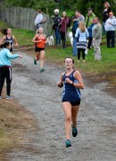 Victoria Lombardi of Peabody runs the course during their cross country meet with Beverly at Brooksby Farm in Peabody on Wednesday, Oct. 3, 2018.